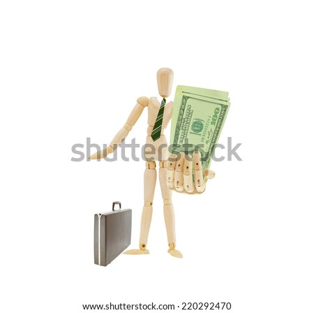 Mannequin holding out one hundred dollar bills US Currency wearing green tie standing next to briefcase isolated on white background