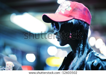 Mannequin in fashion store. Shallow DOF. - stock photo