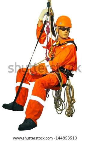 Mannequin in overalls steeplejack on a white background - stock photo