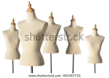 Mannequin or dressmakers dummy on white background.