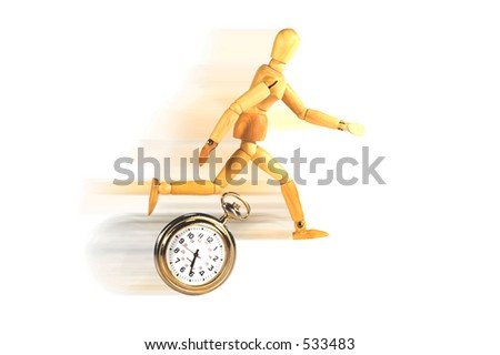 Mannequin racing against a clock.  Metaphor for deadline, crisis, critical, etc.  White background with motion blur. - stock photo