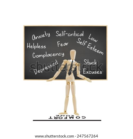 Mannequin wearing gray striped tie standing behind comfort zone line in front of blackboard with low self esteem, fear, stuck, complacency, excuses, helpless, self critical, anxiety isolated on white - stock photo