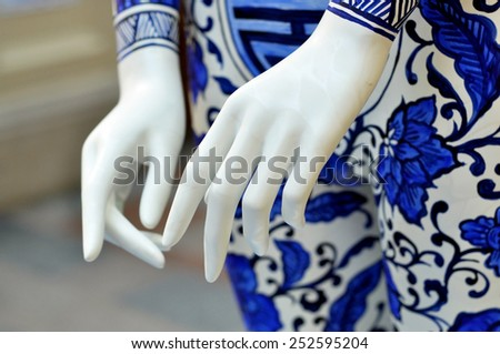 Mannequin white hands - stock photo