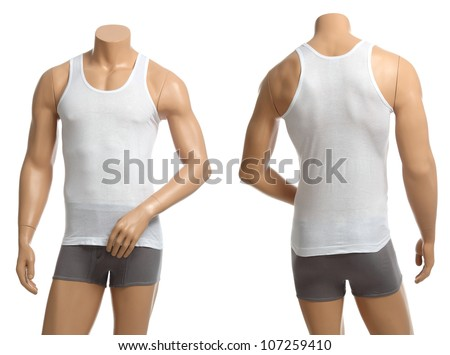 Mannequin with brief and vest on white background. - stock photo