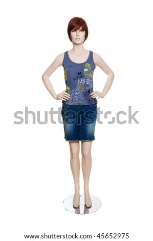 Mannequin with clothing isolated on white