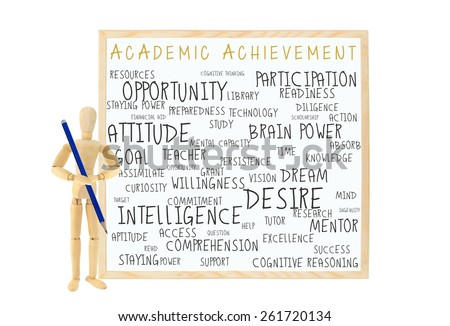 Mannequin with pencil Academic Achievement dry white board: success, brain power, desire, curiosity, participation, question, diligence, goal, resources, opportunity white board isolated on white - stock photo