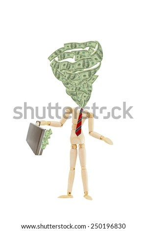 Mannequin with swirling us currency and attached brief case overflowing with one hundred dollar bills isolated on white background - stock photo