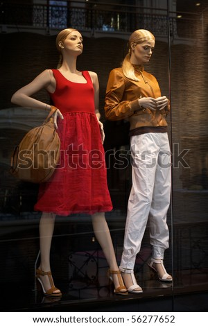 Mannequins in clothes shop. No brandnames or copyright objects