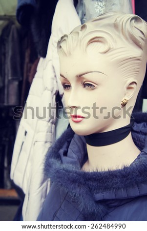 Mannequins in the clothing market - stock photo