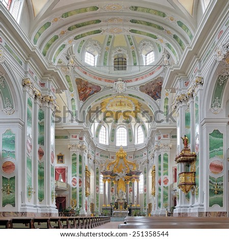 MANNHEIM, GERMANY - MAY 21, 2013: Interior of Mannheim Jesuit Church. The church was built 1733-1760, renovated in 1906, and rebuilded in its historical style after the damage in World War II. - stock photo