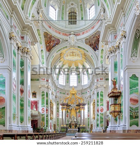 MANNHEIM, GERMANY - MAY 21, 2013: Interior of Mannheim Jesuit Church. The church was built 1733-1760, renovated in 1906, and rebuilded in its historical style after the damage in World War II.