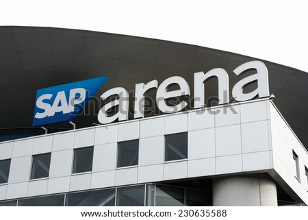 Mannheim, Germany - November 9, 2014: SAP arena in Mannheim. Multi purpose indoor stadium with a capacity of 15.000, opened in 2005. The stadium is used for sports events and concerts. - stock photo