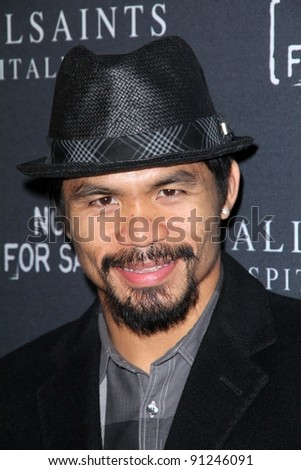Manny Pacquiao at the AllSaints Spitalfields and Not For Sale Collection Launch, The Music Box, Hollywood, CA 10-24-11 - stock photo