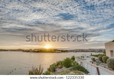 Manoel Island in Gzira's Marsamxett Harbour in front of Valletta, Malta - stock photo