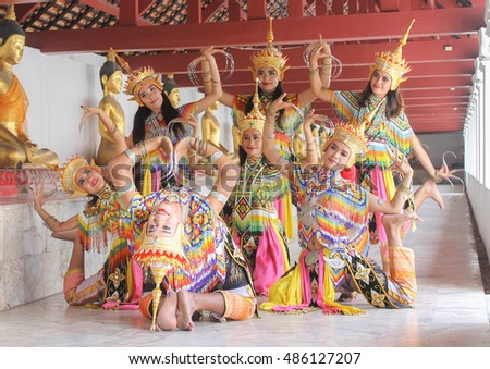 Manohra models : MANOHRA is folk dance in South of Thailand at Temple in Nakhon Si Thammarat Province, Thailand