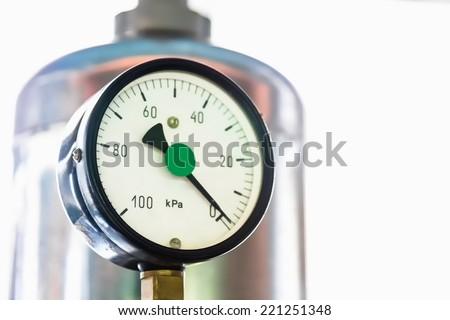Manometer in the boiler - stock photo