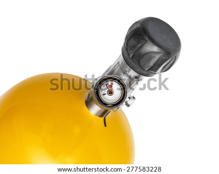 Manometer of an air compressor, tank with compressed air  isolated on the white - stock photo