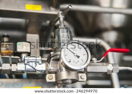 Manometer precise instrument in laboratory, close up - stock photo