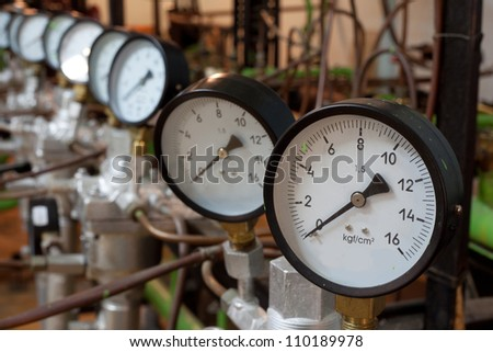 Manometers in the boiler, focus on gauges - stock photo