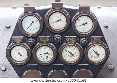 Manometers of steam turbine. - stock photo