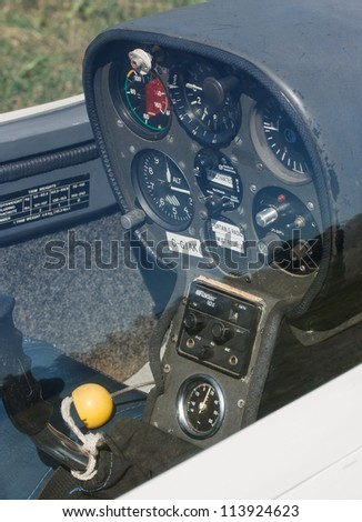 MANOTICK, CANADA - AUGUST 19: The instrument and control panel of a glider on August 19, 2012 at Rideau Valley Soaring in Manotick, Ontario. The club offers introductory flights to the public.