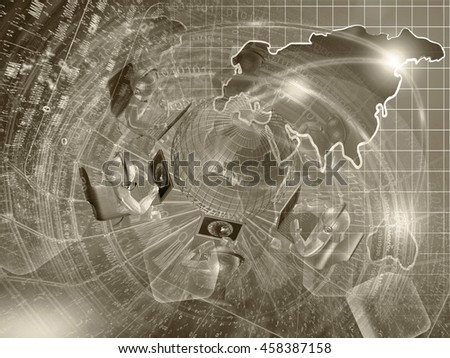 Mans and map - abstract computer background in sepia. - stock photo