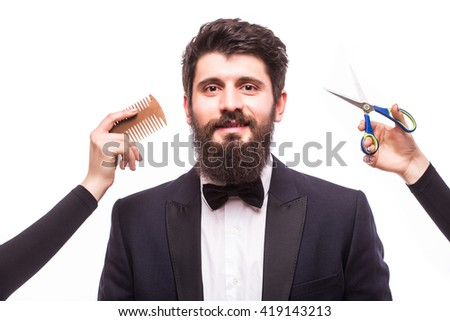 Mans beard hair cutting, barberchop on white backgrounds