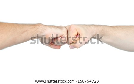 Mans fists isolated on white
