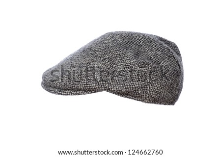 mans flat cap in grey tweed isolated on white background - stock photo