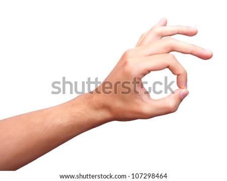 Mans hand gesturing ok - stock photo