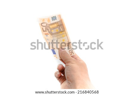 Mans hand holding a 50 euro banknote in a money, finances, payment or investment concept isolated on white with copyspace - stock photo