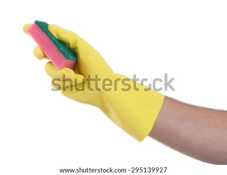 Mans hand in rubber glove with sponge isolated on white background