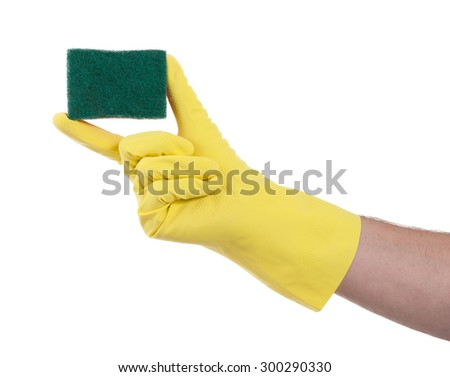 Mans hand in rubber glove with sponge isolated on white background - stock photo