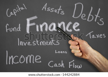 Mans hand pointing to a finance message on a chalkboard.