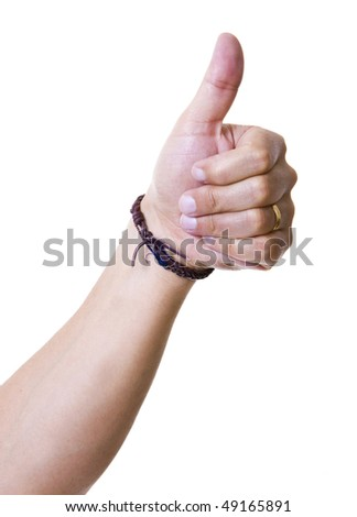 Mans hand showing close up of the thumbs up, isolated on white