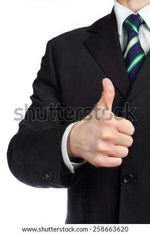 Mans hand with thumb up isolated - stock photo