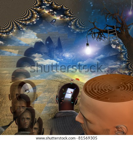 Mans head reveals maze in strange scene - stock photo