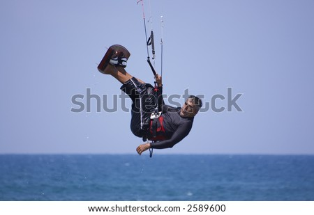 mans  hobbies and recreation - kitesurfing, Haifa beach, Israel