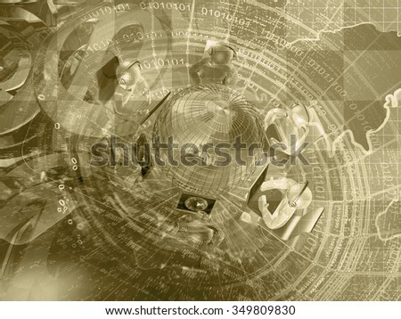 Mans, mail signs and map - abstract computer background in sepia. - stock photo