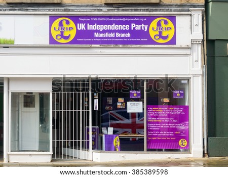 MANSFIELD, NOTTINGHAMSHIRE, ENGLAND -  MAY 19: The Mansfield branch of British political party - UKIP - UK Independence Party. 32 Church Street, Mansfield, Nottinghamshire, England. On 19th May 2015.