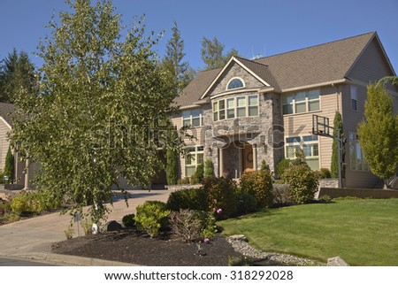 Mansion home and garden in Happy valley Oregon. - stock photo