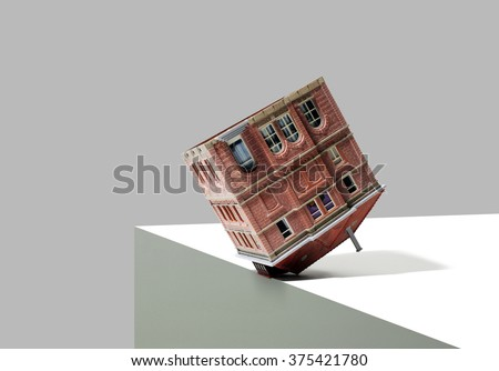 Mansion or House at Edge of Cliff - stock photo