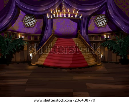 Mansion Stairs. Cartoon style mansion stairs, this is a grand wooden staircase in the mansion, it is furnished with carpet and illuminated by candle light.  - stock photo