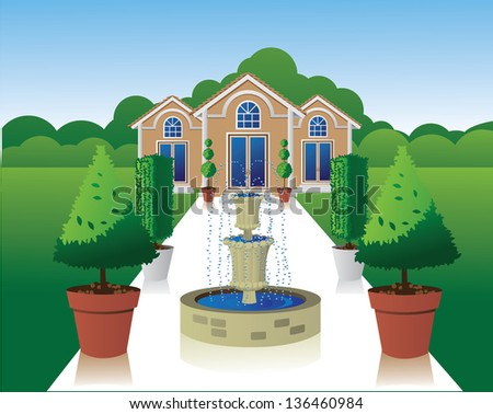 Mansion with grand entrance. jpg - stock photo
