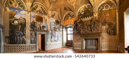 Mantova, Italy - January 8, 2016: Palazzo Ducale in Mantua, also known as the Gonzaga palace, is one of the main historic buildings citizens.