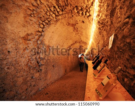 MANTOVA, ITALY - JUNE 13: Walking in the wines gallery during Golosaria, fair show of food and gastronomy culture June 13, 2010 in Mantova, Italy. - stock photo