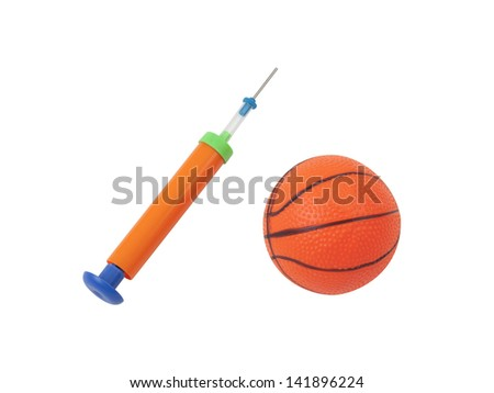 manual air pump with toy ball isolated on white background - stock photo