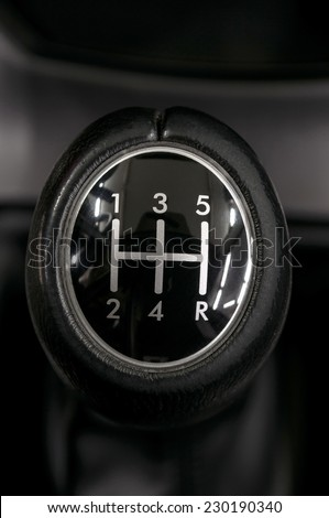 Manual car transmission. Auto interior detail. - stock photo