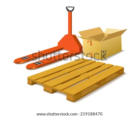 Manual forklift, box, wood pallet as warehouse concepts on white background (raster version). - stock photo