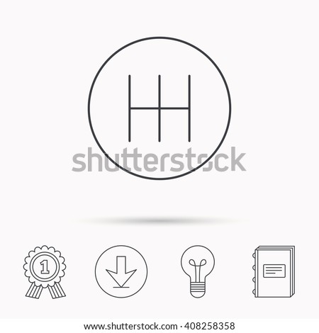 Manual gearbox icon. Car transmission sign. Download arrow, lamp, learn book and award medal icons. - stock photo